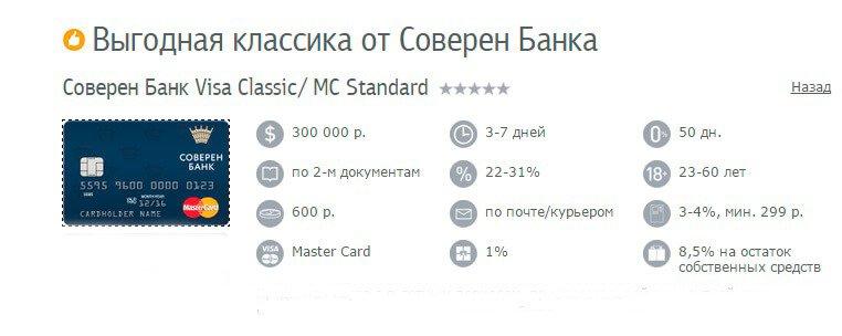 оформить карту соверен банк