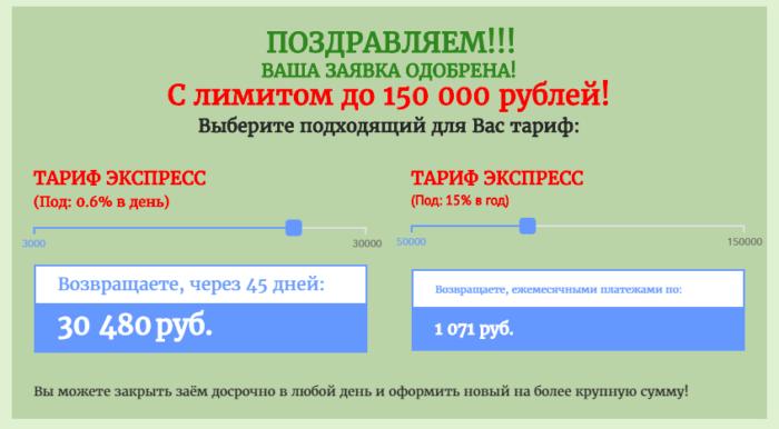 Личный кабинет МКК Z400 (Лот финанс) - ваша заявка одобрена