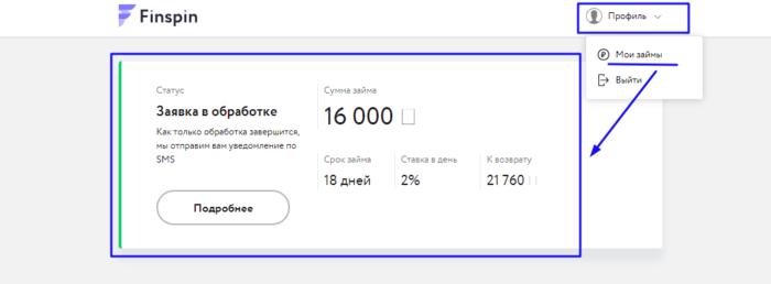 Finspin.ru - заявки в обработке