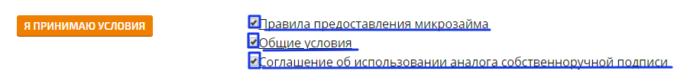 МКК Займоград - Я принимаю условия.