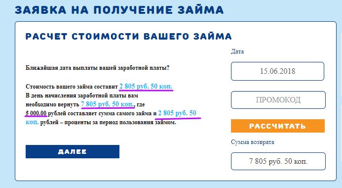 МКК ВикПэй Экспресс - расчет стоимости вашего займа